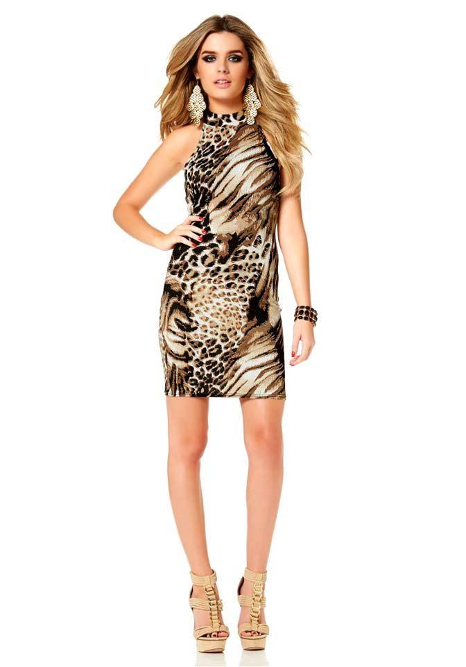 Animalprint-Kleid braun-bunt Größe 40   Kleider   Outlet ...