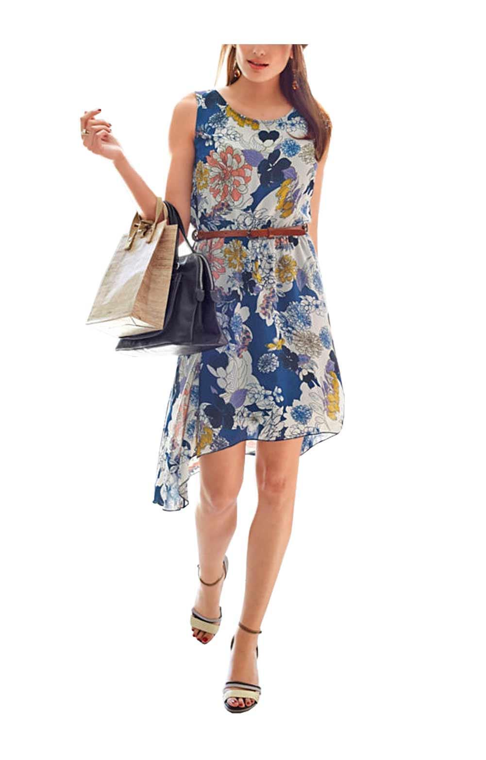 Asymmetrisches Kleid blau-bunt Größe 44   Kleider   Outlet ...