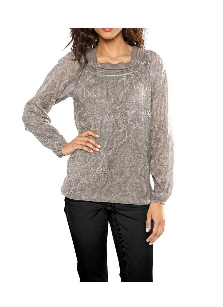 798d4b254dcd Bluse taupe   Blusen   Tuniken   Outlet Mode-Shop