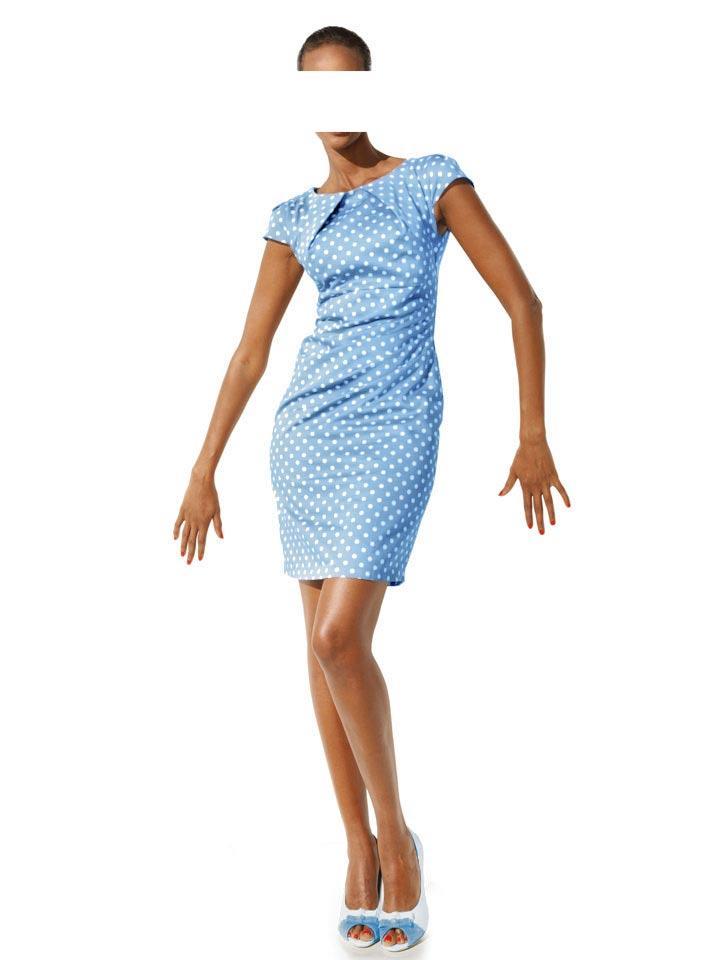 Bodyforming-Kleid hellblau-weiß   Neuheiten   Outlet Mode-Shop