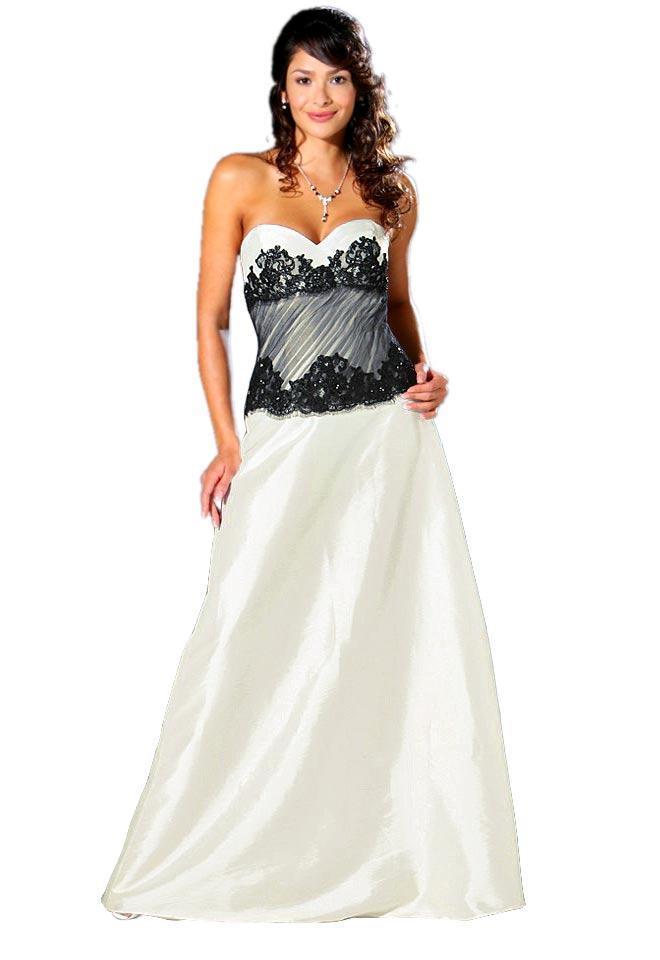 Brautkleid creme-schwarz | Schnäppchen | Outlet Mode-Shop