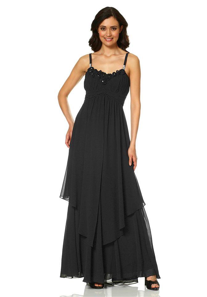 Chiffon-Abendkleid mit Strass schwarz | Abendmode | Outlet ...