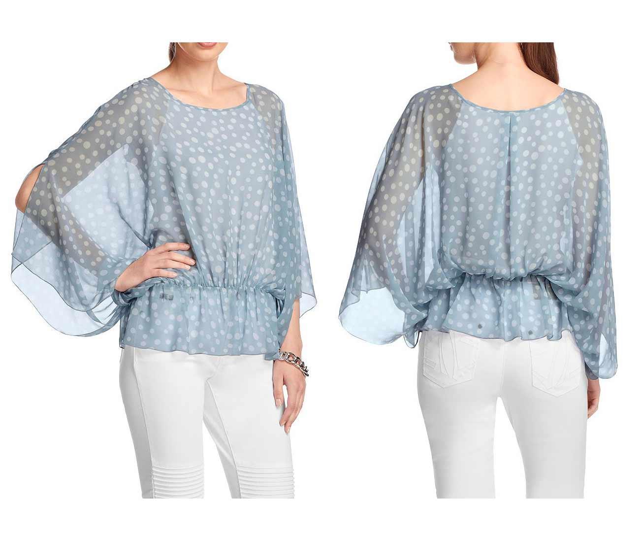 67138516ce50 Chiffon-Bluse blau-weiß gepunktet   Blusen   Tuniken   Outlet Mode-Shop