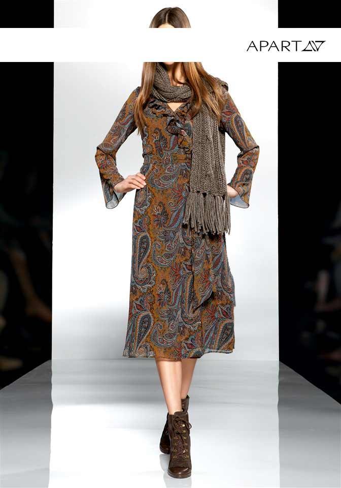 Chiffon-Kleid oliv-bunt   Kleider   Outlet Mode-Shop