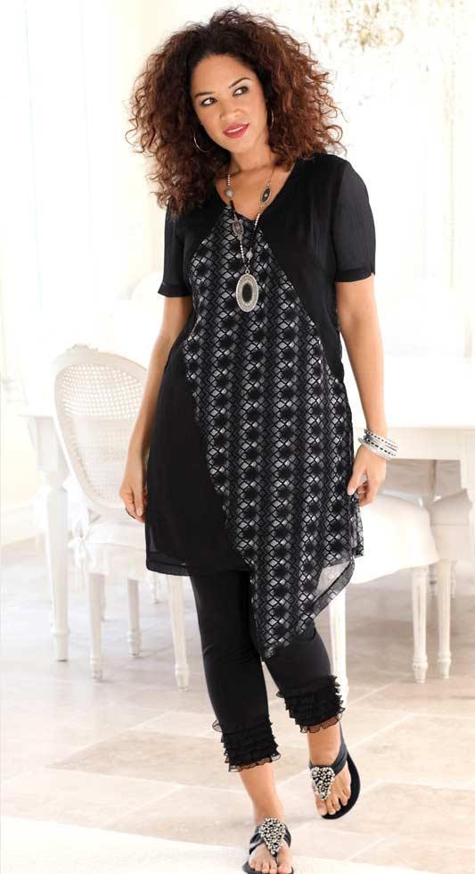 Chiffon-Kleid schwarz-weiß | Kleider | Outlet Mode-Shop