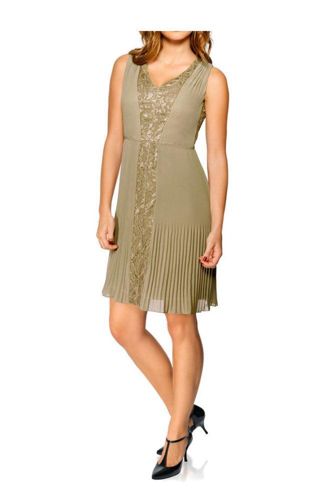 Chiffon-Plissee-Kleid mit Spitze taupe | Kleider | Outlet ...
