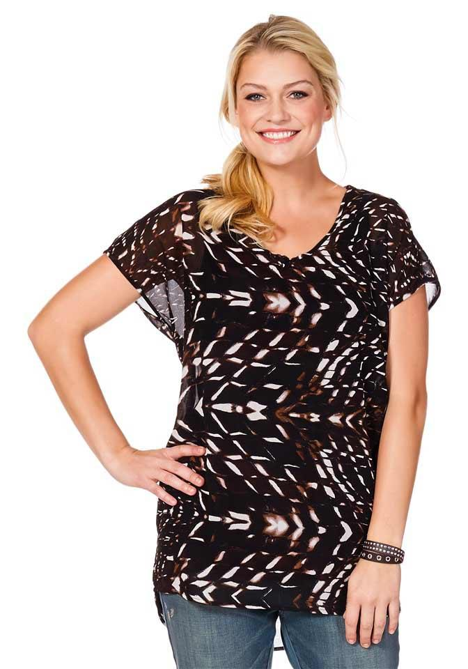 quality design 147de 23410 Chiffon-Tunika braun-bunt | Blusen / Tuniken | Outlet Mode-Shop