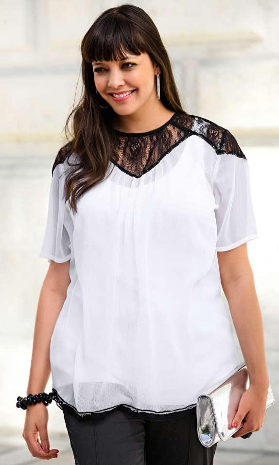 1e9a0d9042f2 Chiffonbluse mit Spitze schwarz-weiß   Blusen   Tuniken   Outlet ...