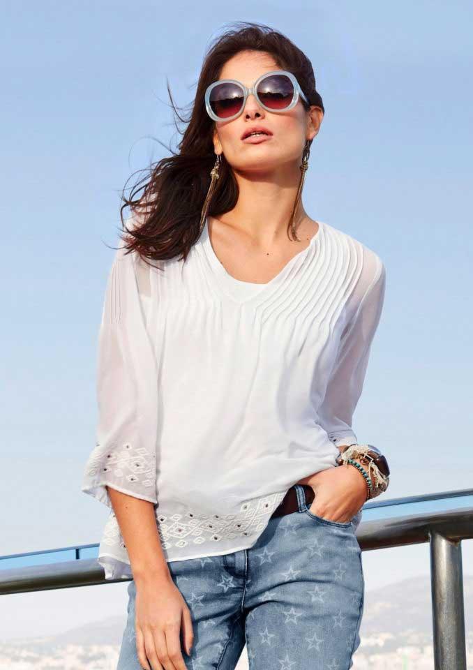 181626b34c45 Chiffonbluse weiß   Blusen   Tuniken   Outlet Mode-Shop