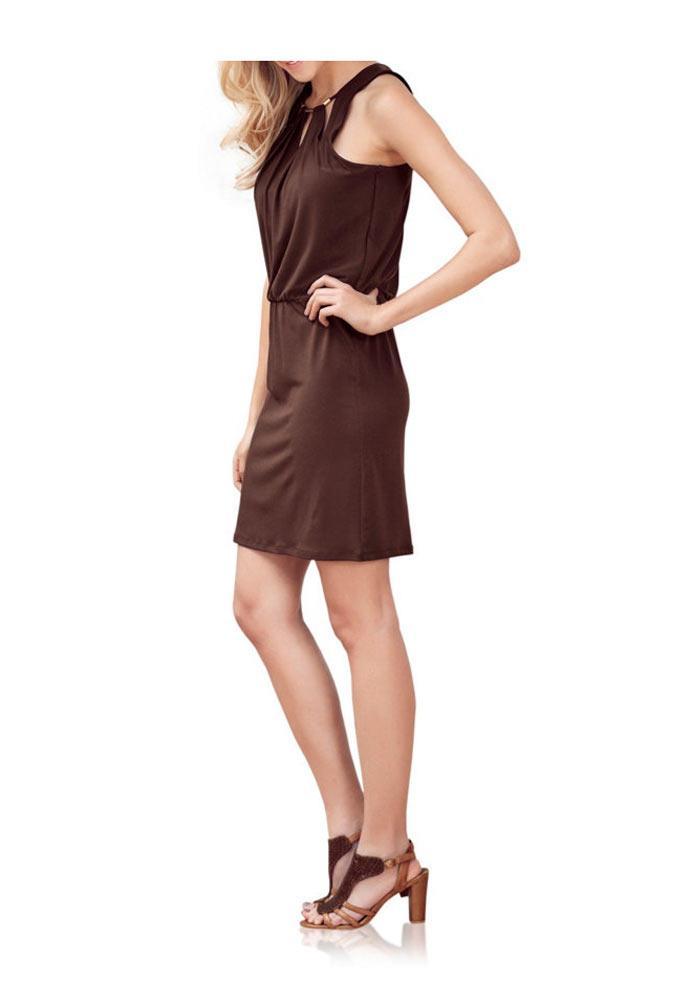 Dekolletékleid-Kleid braun | Kleider | Outlet Mode-Shop