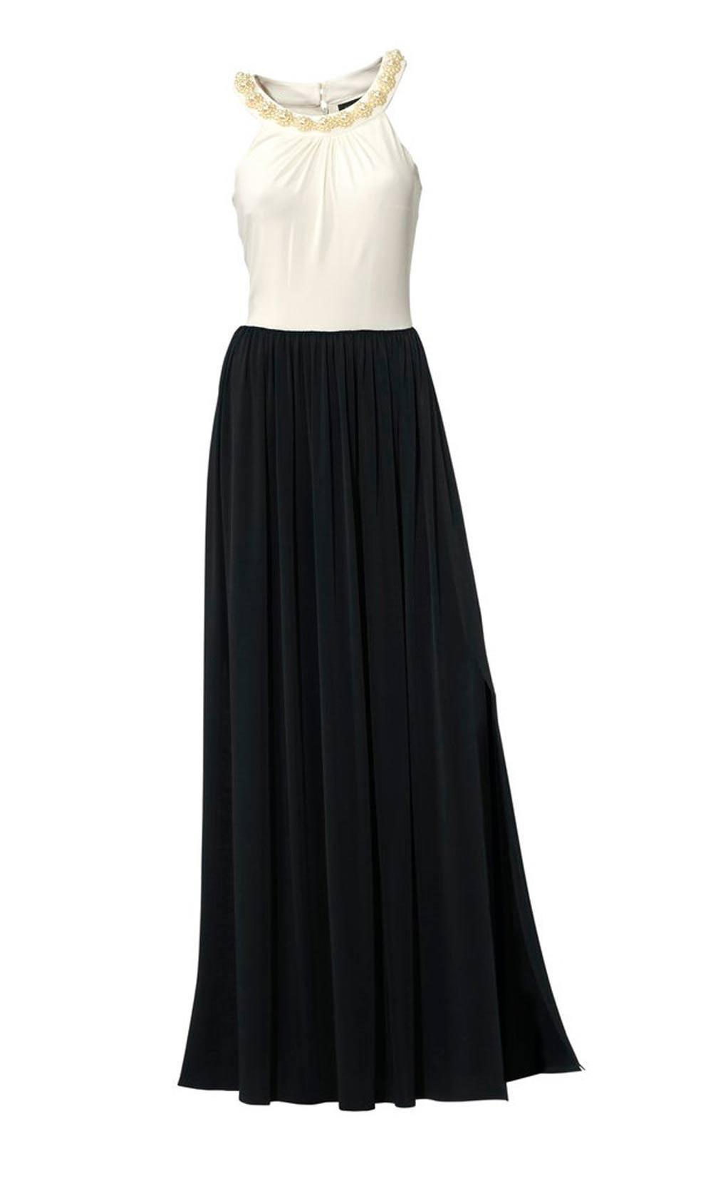 Designer-Abendkleid mit Perlen schwarz-weiß | Abendmode ...