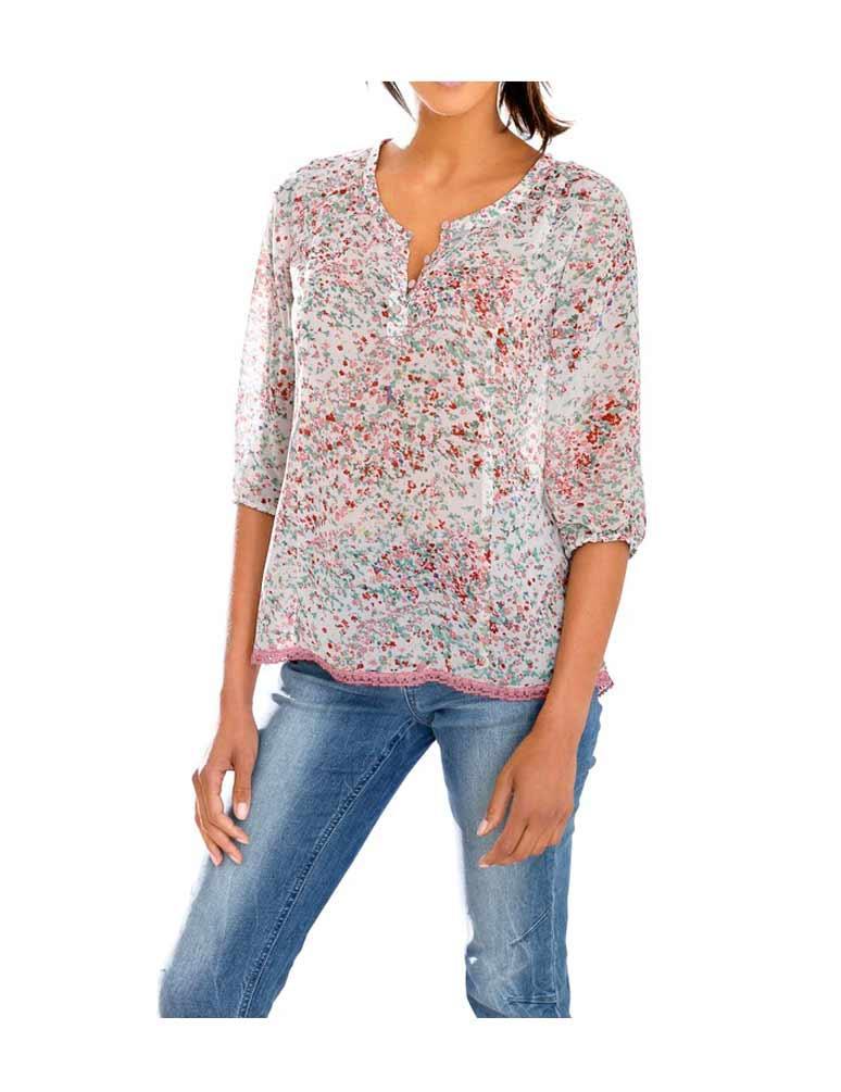 305ebdb1d733 Designer-Bluse mit Spitze bunt   Blusen   Tuniken   Outlet Mode-Shop