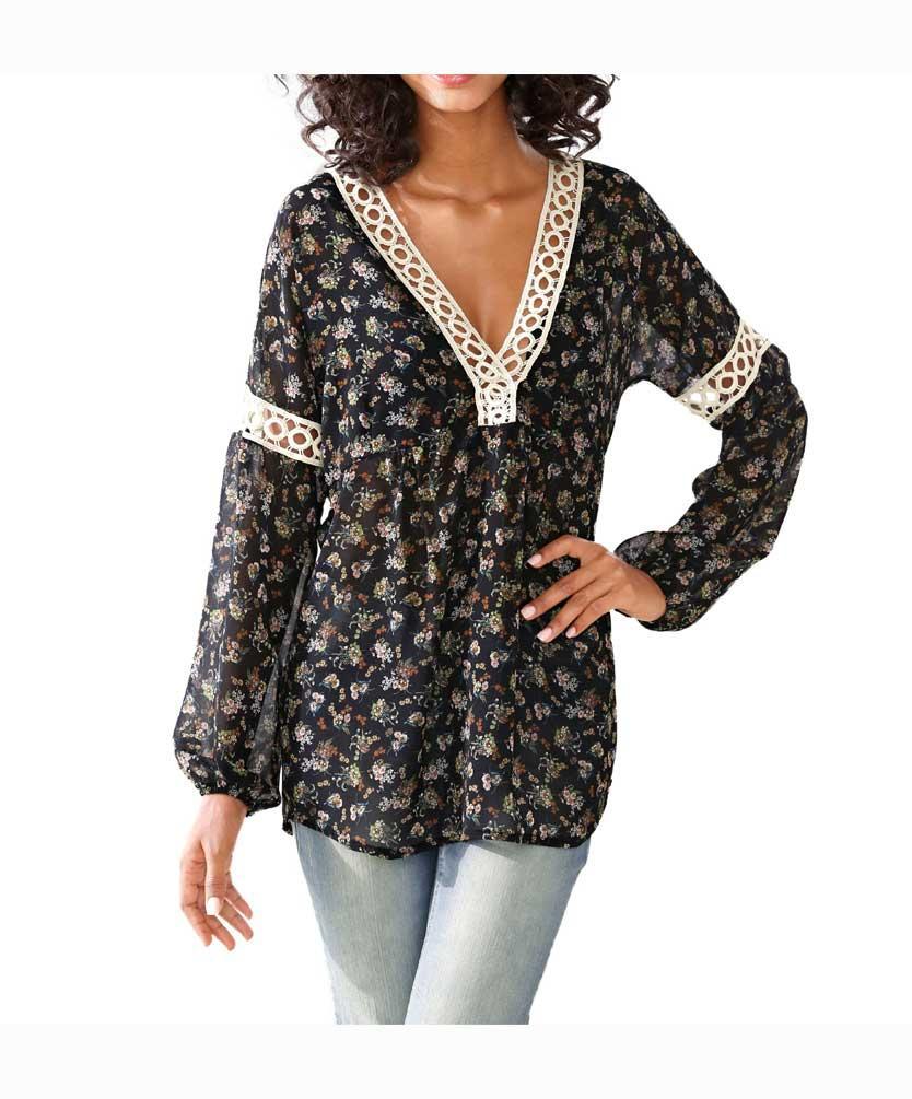 33a2ff84944c Designer-Bluse schwarz-bunt   Blusen   Tuniken   Outlet Mode-Shop