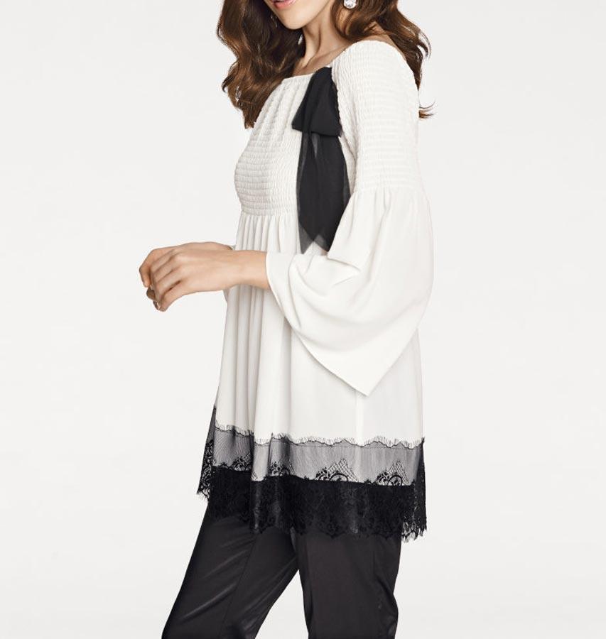 beed771769e5 Designer-Carmentunika weiß-schwarz   Blusen   Tuniken   Outlet Mode-Shop