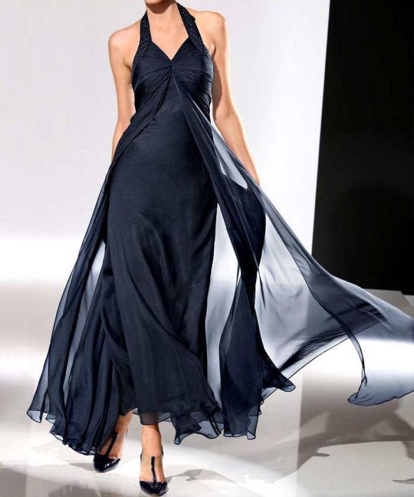 designer-chiffon-abendkleid nachtblau größe 42 | abendmode