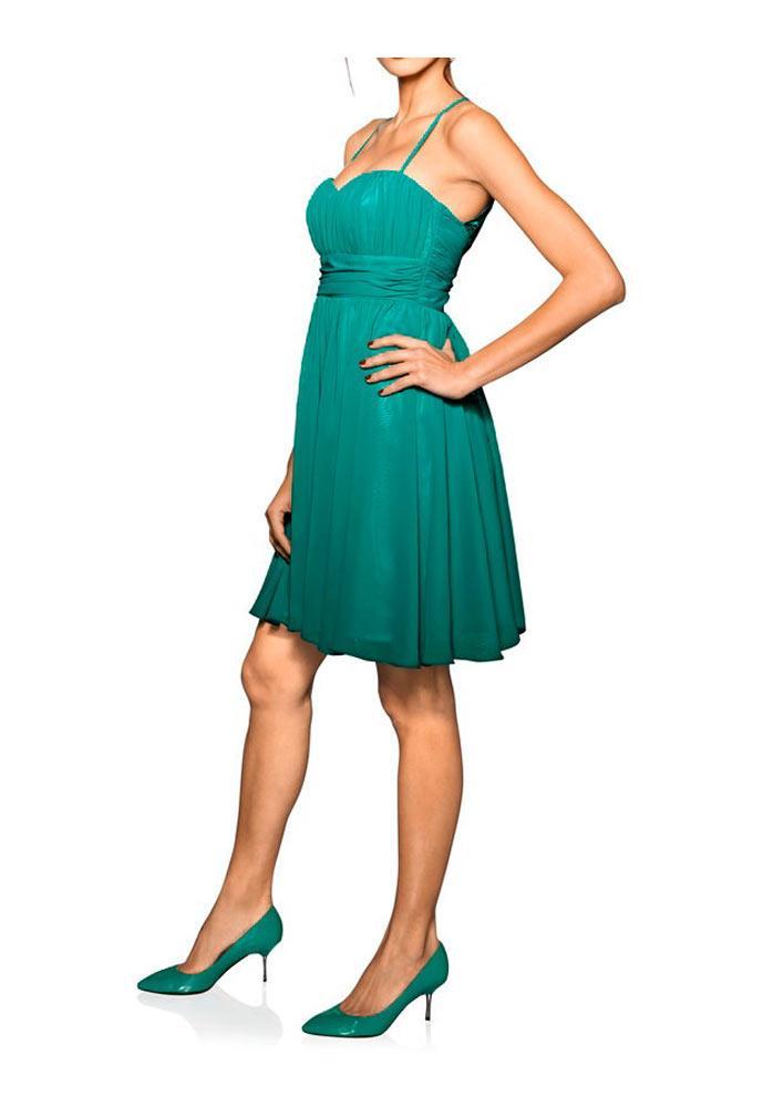 Designer Chiffon Cocktailkleid smaragd | Abendmode | Outlet