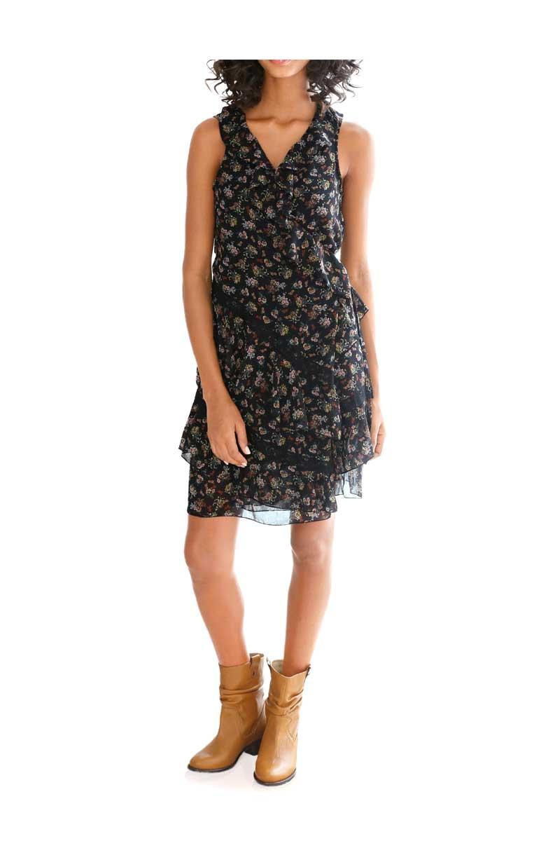 designer-chiffon-wickelkleid schwarz-bunt gr. 46   kleider