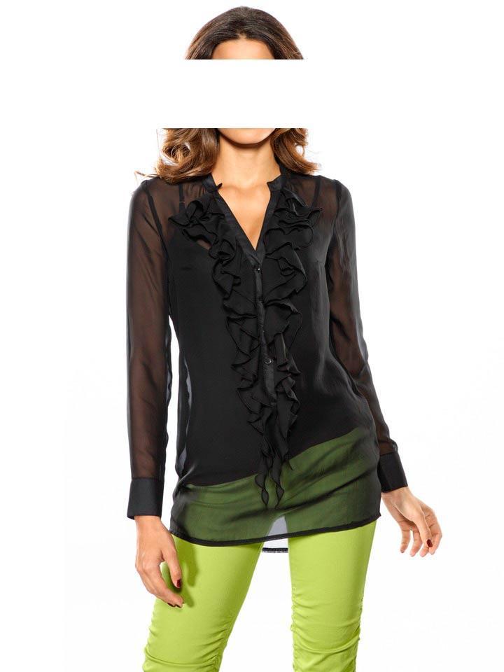 b173ab3bcfce Designer-Chiffonbluse schwarz   Blusen   Tuniken   Outlet Mode-Shop