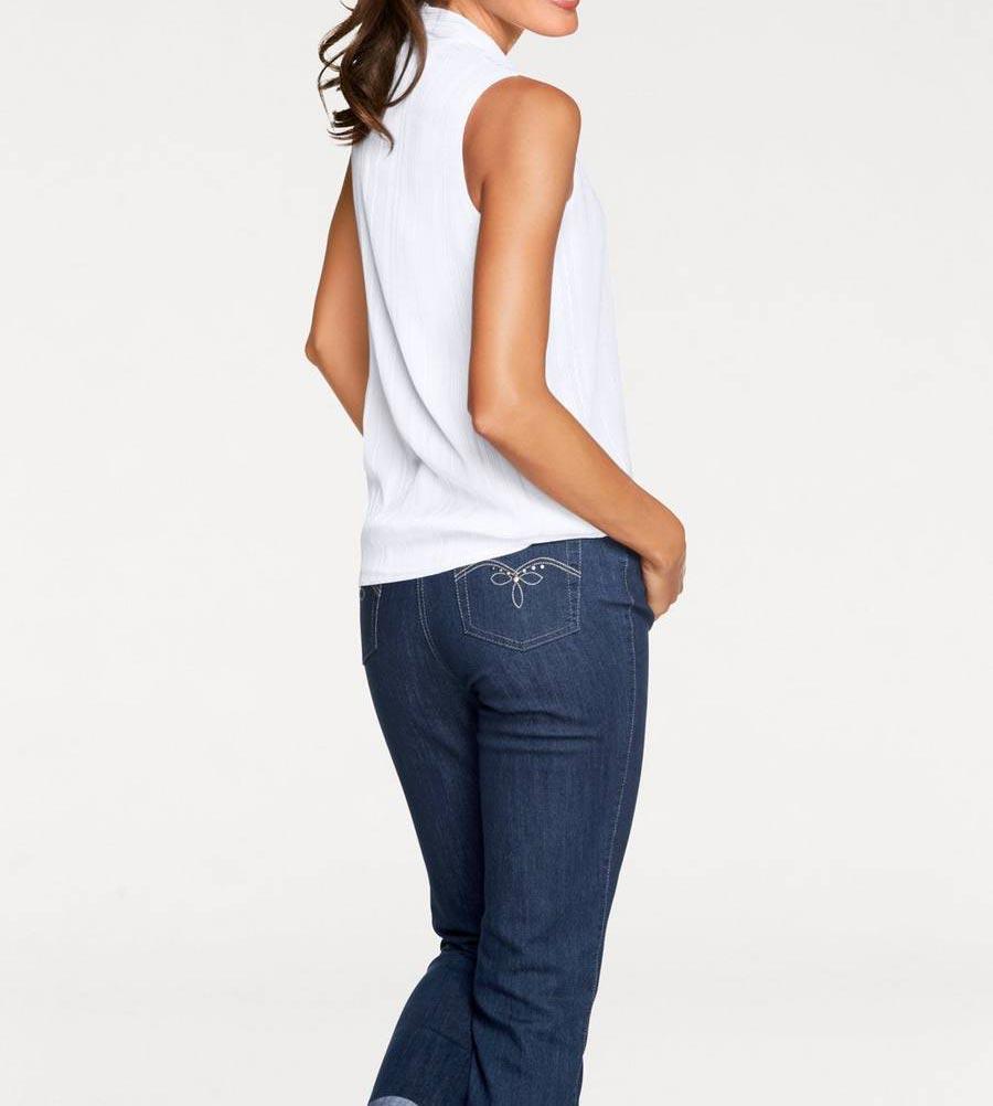 719486d41748 Designer-Chiffonbluse weiß-silber   Blusen   Tuniken   Outlet Mode-Shop