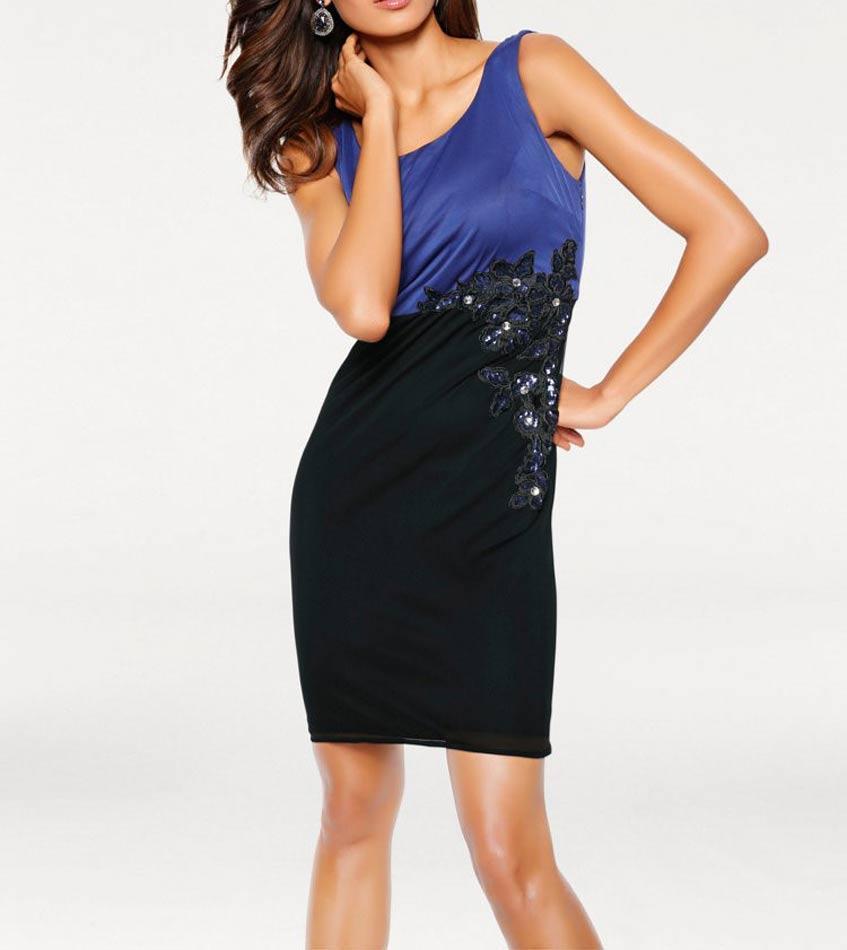 Designer-Cocktailkleid blau-schwarz | Kleider | Outlet Mode-Shop