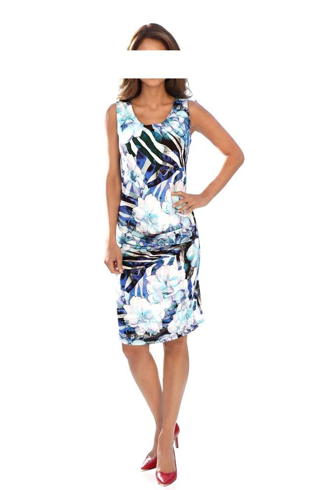 11717323551f Designer-Druckkleid türkis-bunt   Kleider   Outlet Mode-Shop