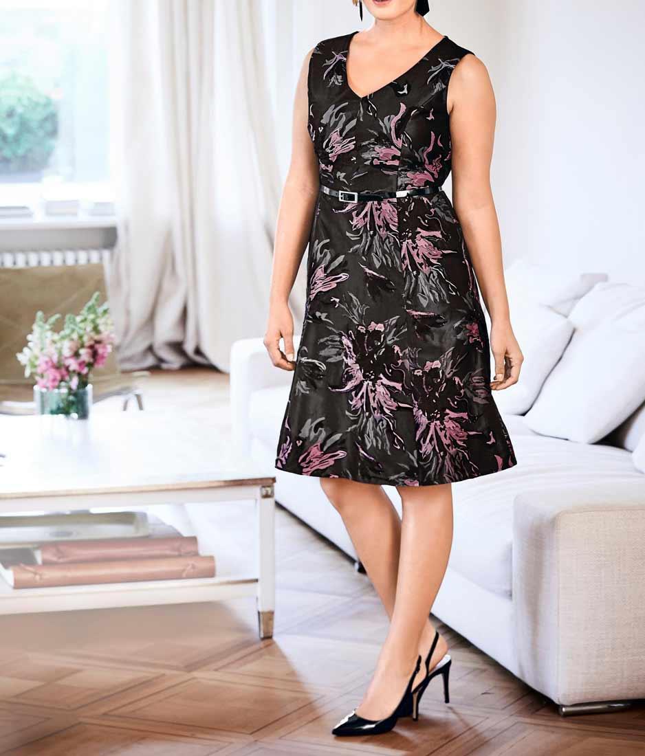 Designer-Jacquardkleid anthrazit-rosa Gr. 46   Kleider ...