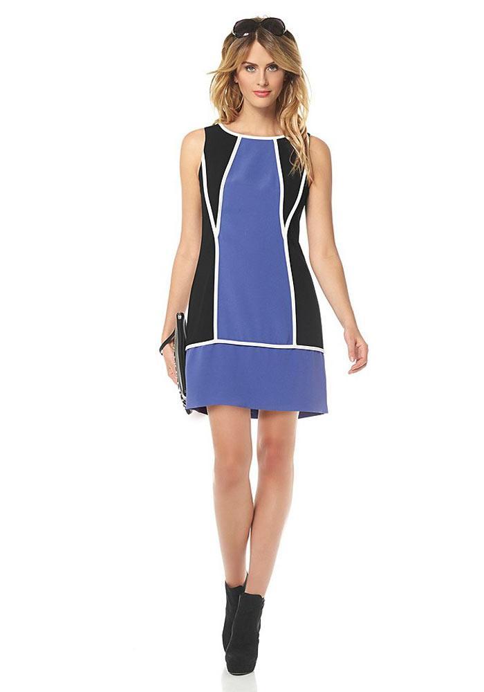 Designer kleid blau schwarz