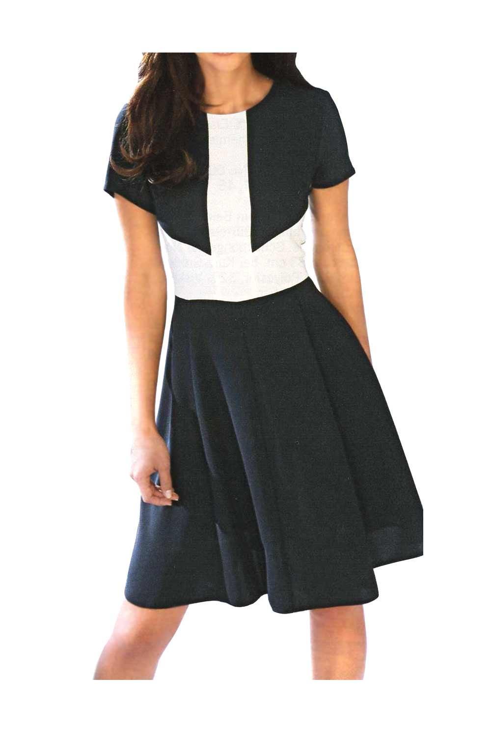 designer-kleid marine-cremeweiß größe 46   kleider   outlet
