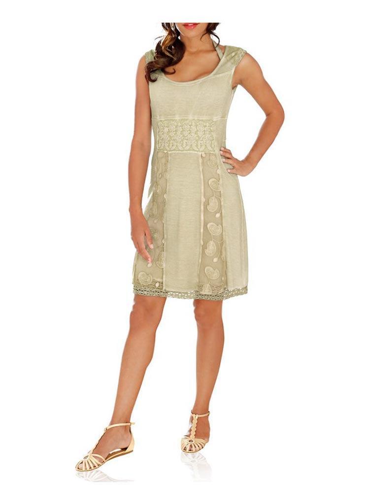 Designer-Kleid mit Spitze beige | Kleider | Outlet Mode-Shop