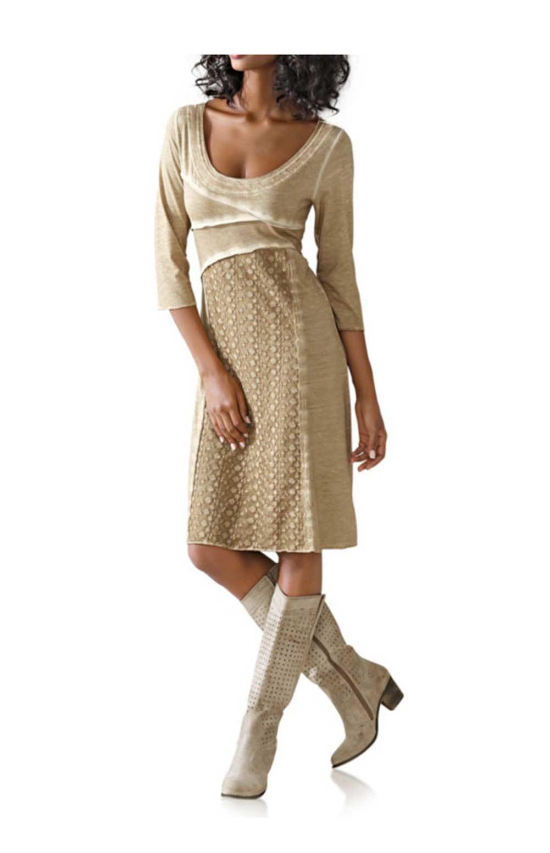 Designer-Kleid mit Spitze sand Gr. 46   Kleider   Outlet ...