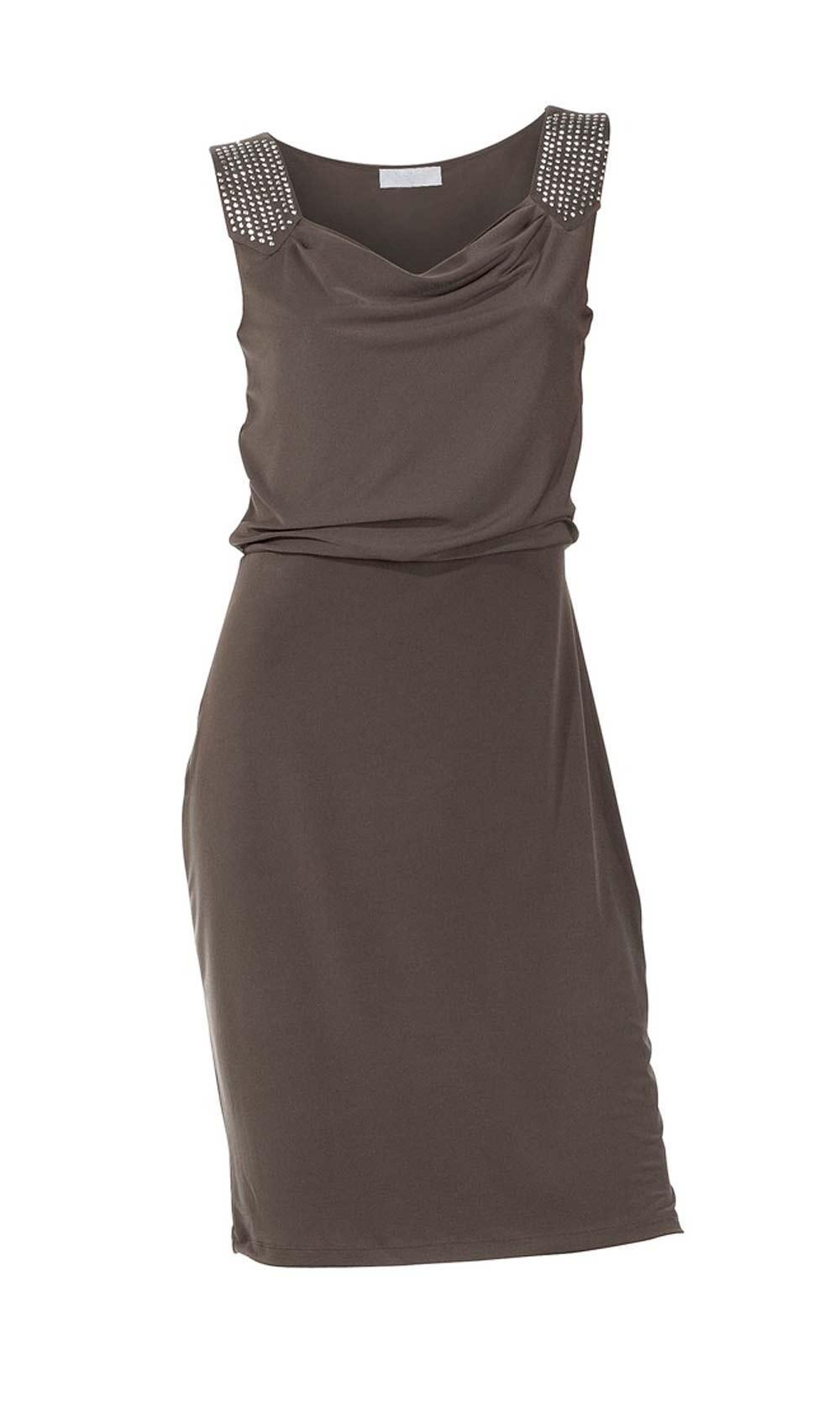 Designer-Kleid mit Steinen taupe Größe 46   Kleider ...