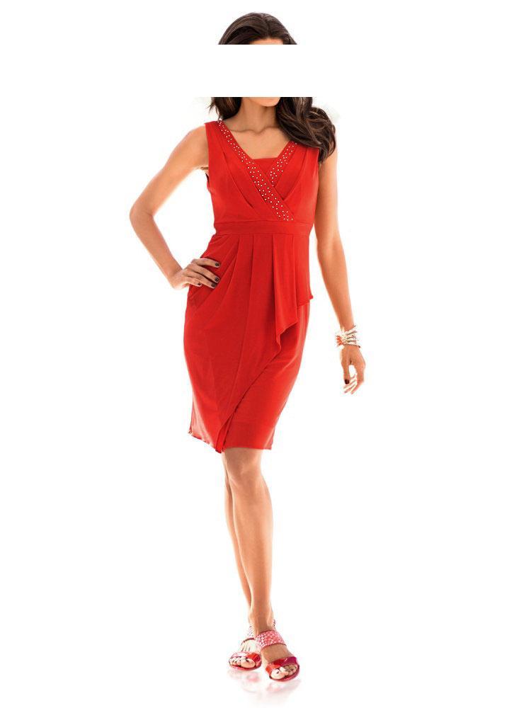 Designer-Kleid mit Strass koralle Gr. 46   Kleider ...