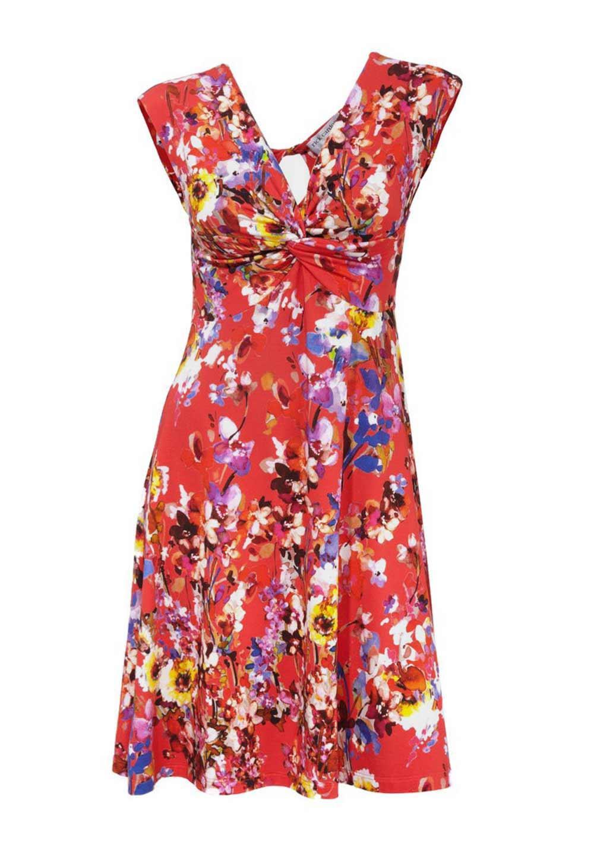 4e948dd914462e Designer-Kleid rot-bunt | Kleider | Outlet Mode-Shop