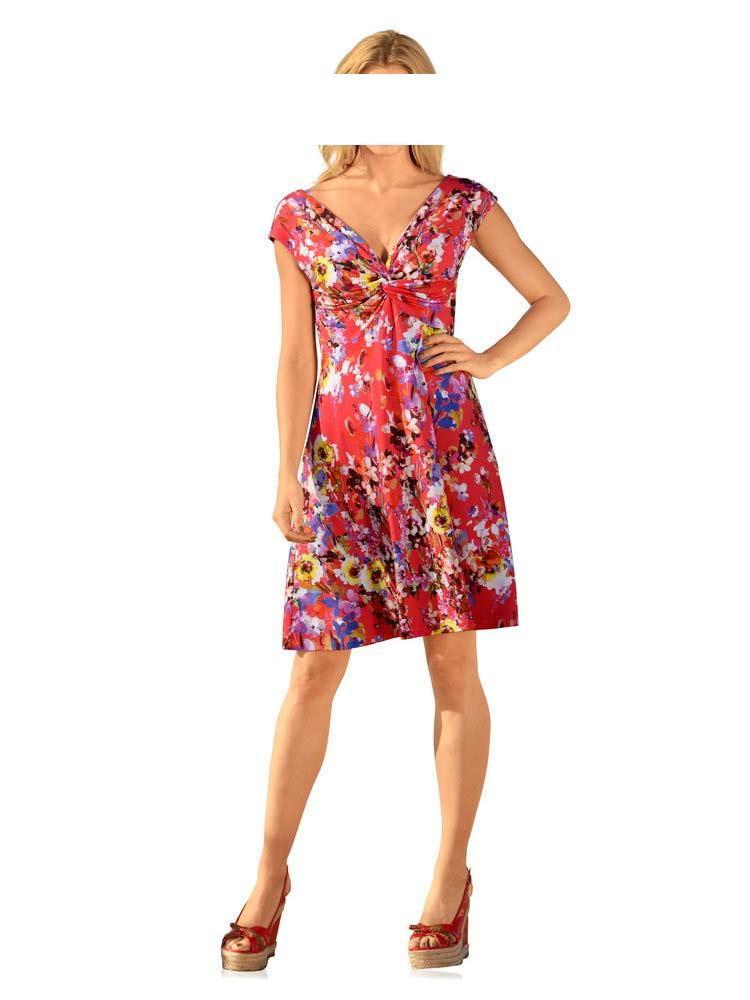 65b6e88fde8a Designer-Kleid rot-bunt   Kleider   Outlet Mode-Shop