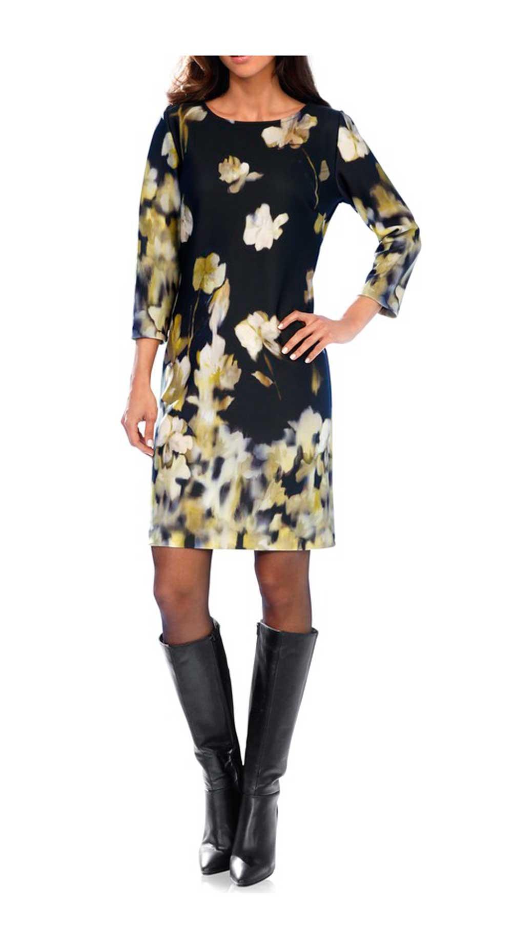 Designer-Kleid schwarz-gelb | Kleider | Outlet Mode-Shop