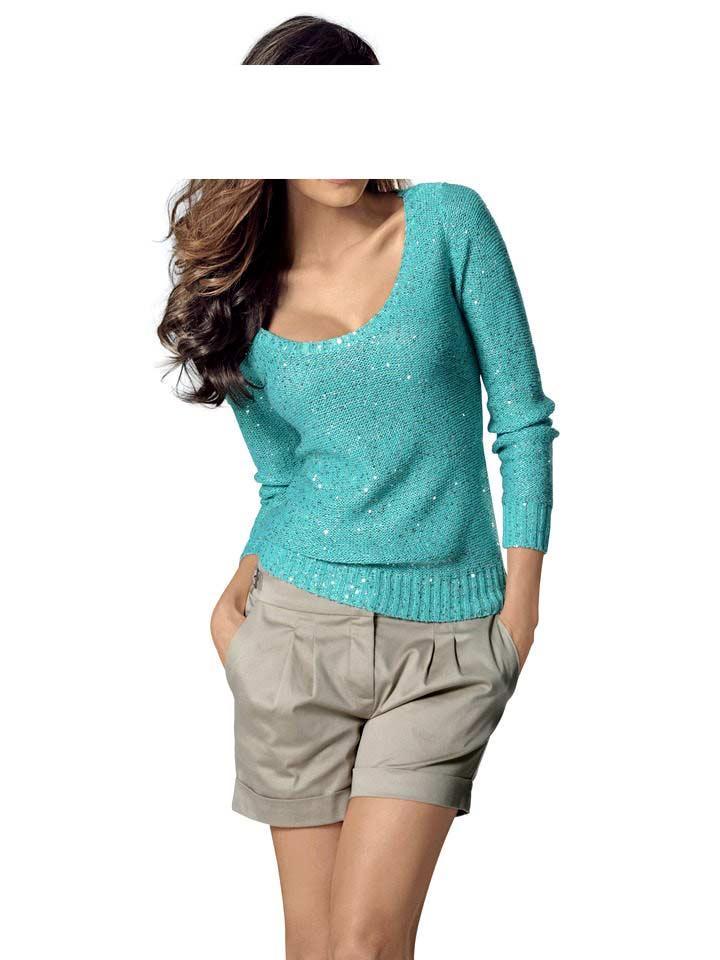 Designer-Pullover mit Pailletten türkis   Strickwaren   Outlet Mode-Shop b441853bdb