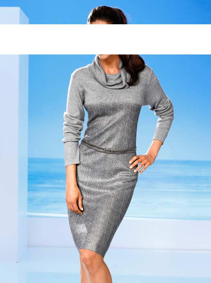 74aefd9af558 Designer-Strickkleid grau-silber   Kleider   Outlet Mode-Shop