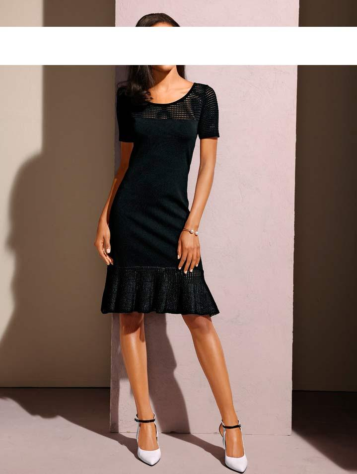 Designer Strickkleider | Designer Strickkleid Schwarz Kleider Outlet Mode Shop
