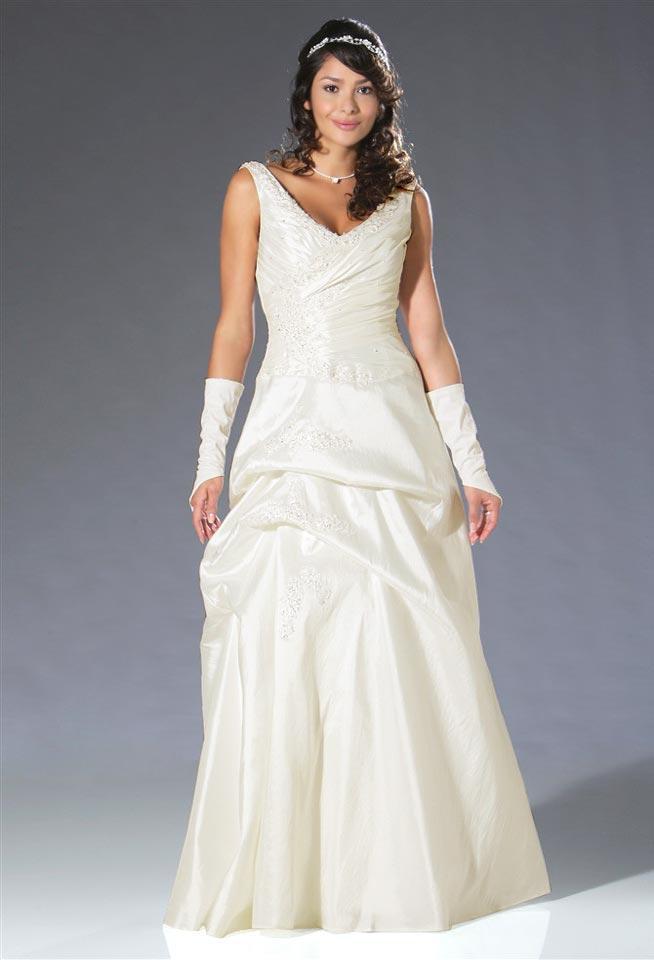 Hochzeitskleid mit Perlen creme Größe 40 | SALE % | Outlet Mode-Shop