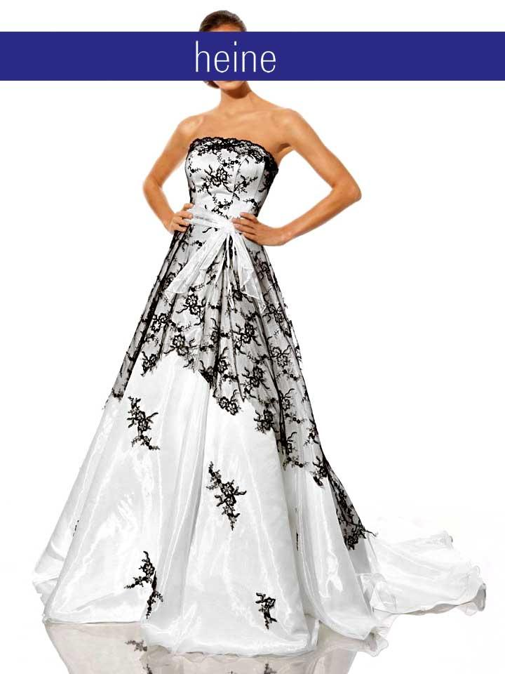 Hochzeitskleid weiß-schwarz  Abendmode  Outlet Mode-Shop