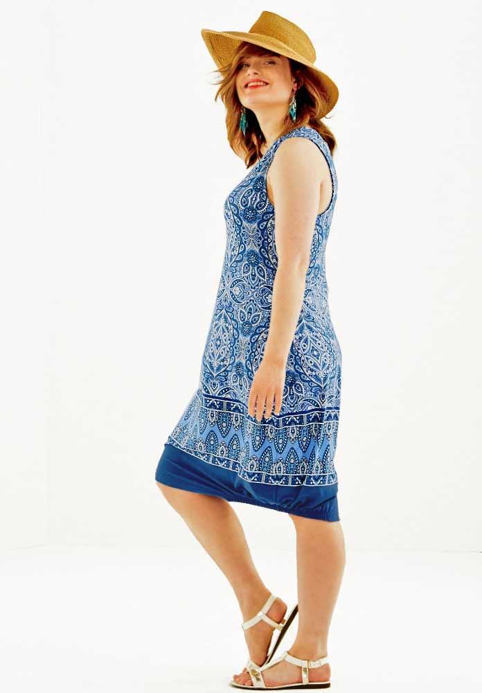 Jersey-Kleid blau-bunt Gr. 46   Kleider   Outlet Mode-Shop