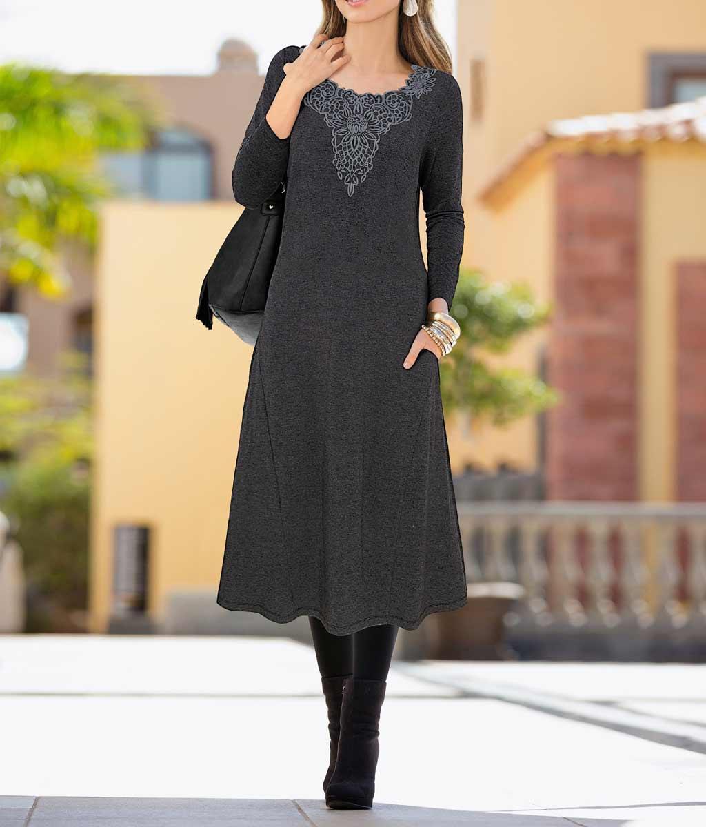 Jerseykleid grau-melange   Kleider   Outlet Mode-Shop
