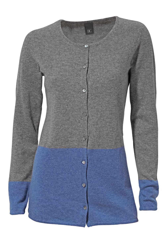 Kaschmir-Strickjacke grau-blau | Strickwaren | Outlet Mode ...