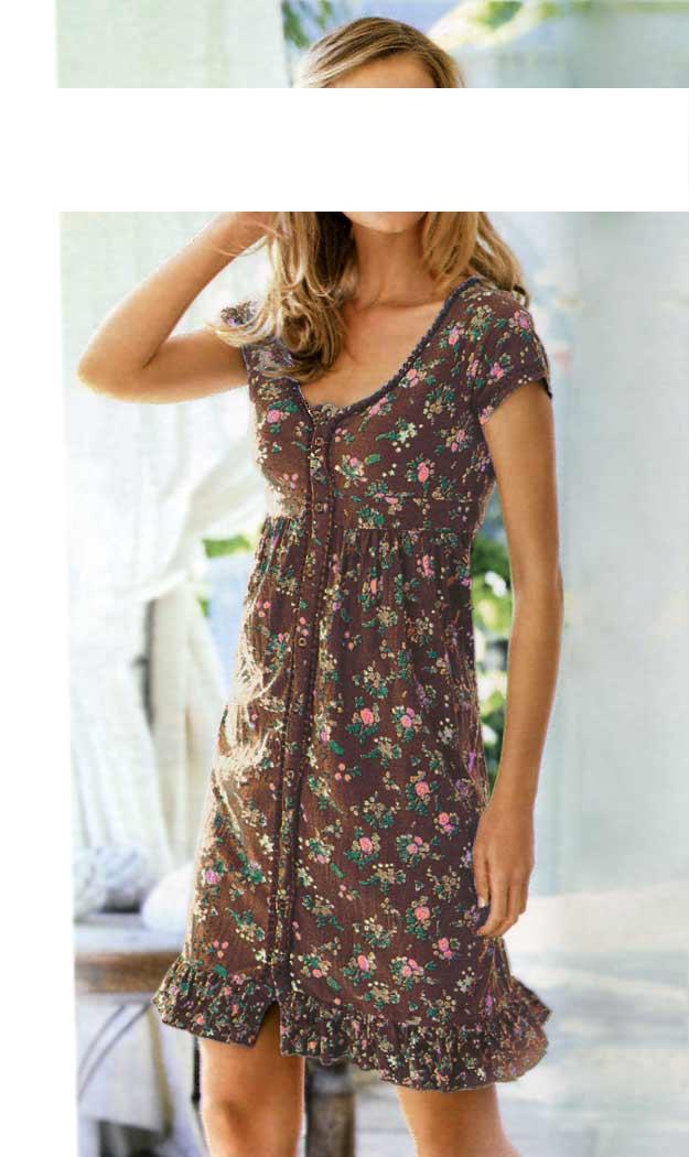 Kleid braun-bunt | Kleider | Outlet Mode-Shop