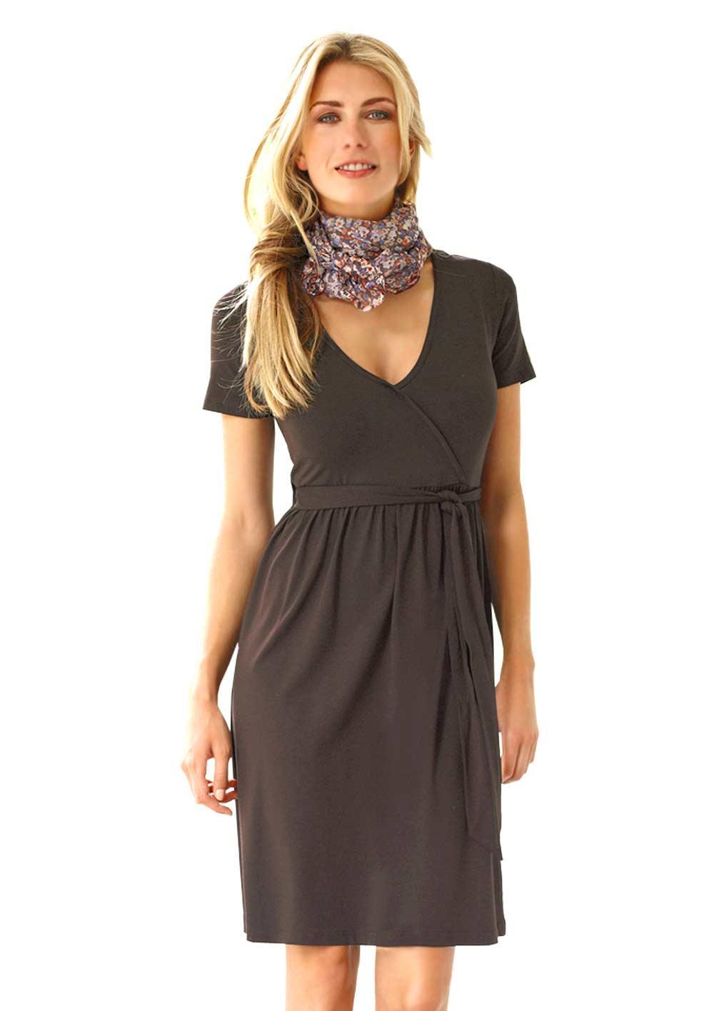 Kleid mit Bindegürtel braun | Kleider | Outlet Mode-Shop