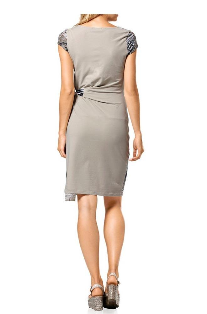 Kleid mit Bindegürtel grün-bunt | Kleider | Outlet Mode-Shop