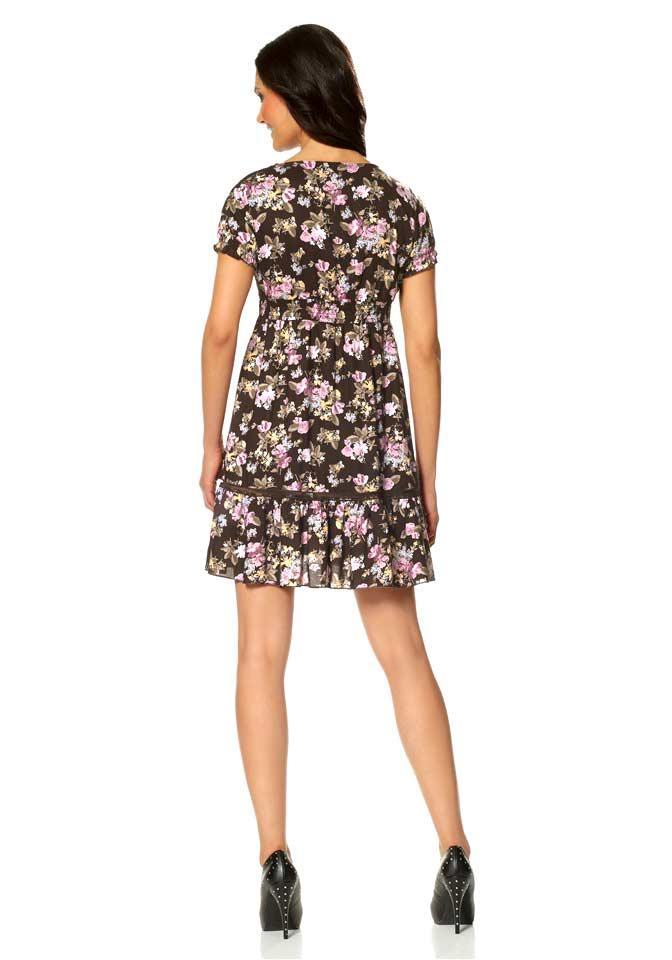 kleid mit blumen braun   kleider   outlet mode-shop