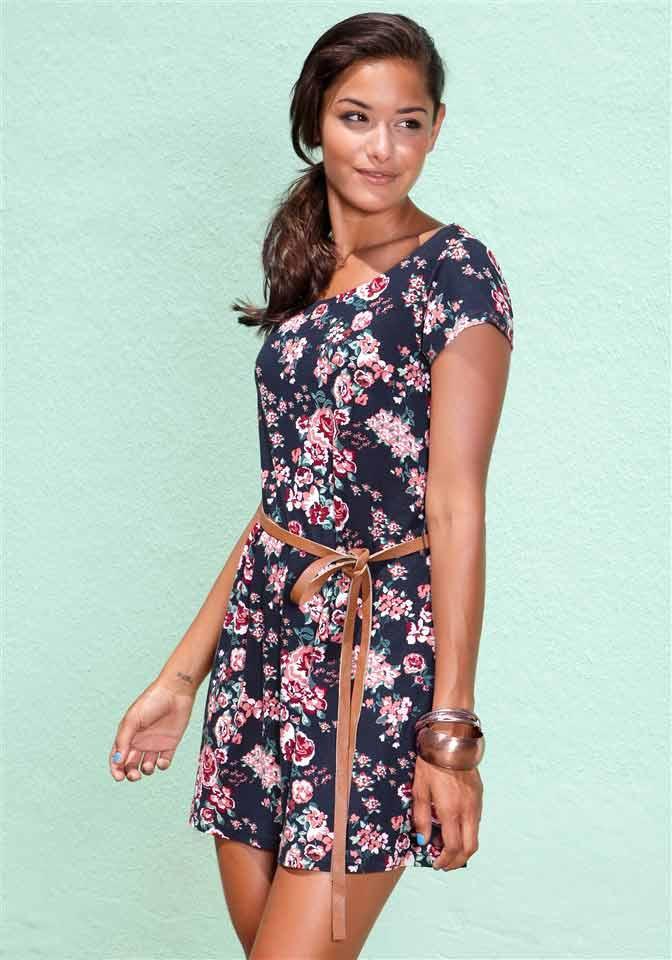 Kleid mit Gürtel blau-bunt | Kleider | Outlet Mode-Shop