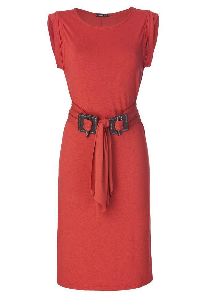 Kleid mit Gürtel zimt Größe 46 | Kleider | Outlet Mode-Shop
