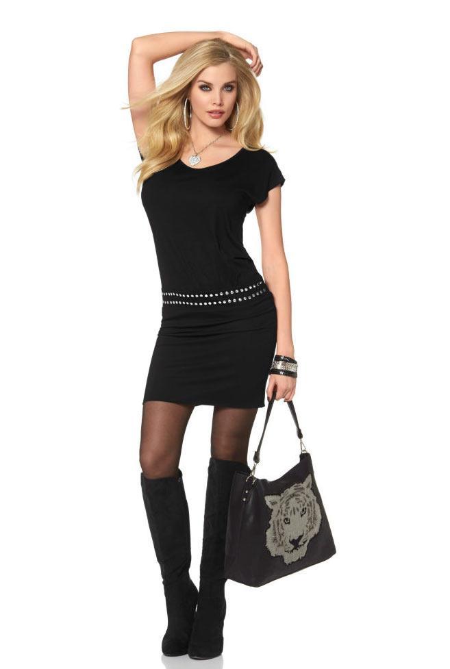 Kleid mit Nieten schwarz | Kleider | Outlet Mode-Shop